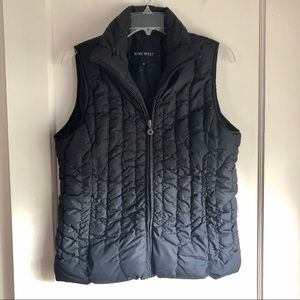 Nine West Black Puffer Zipper Vest